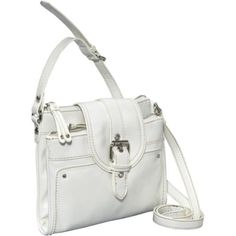 Size does matter! Fit just what you need in the Nine West™ If the Tote Fits Crossbody Bag! ; Crossbody bag made of faux leather. Holds your wallet, keys and a slim cell phone. Rear-exterior slip pocket. Contrast-colored stitching. Buckle accents. Flat bottom. Top zipper closures. Top tab with a snap flap closure. Interior lining with a back-wall zip pocket and multifunctional slip pockets. Imported. Bottom Width: 8 in ; Middle Width: 8 1 4 in ;... White Handbag, Multifunctional, Bag Making, Keys, Stitching, Contrast, Middle, Crossbody Bag, Exterior