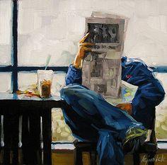 "Karin Jurick. ""Daily news."" (2007) 6x6, oil on masonite"