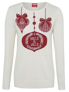 Cute Christmas Jumpers - Christmas Holly Jolly Bauble Jumper | Women | George at ASDA