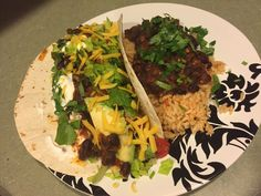 Shredded Chicken Taco with Cuban Style Black Beans and Spanish Rice