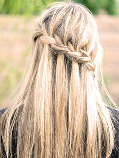 dirty hair waterfall braid