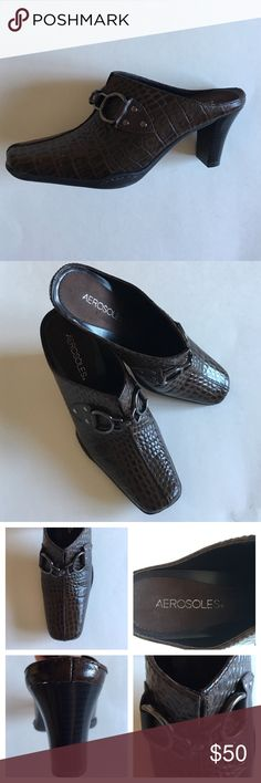 """📍New List📍AEROSOLES """"Cinch Worm"""" Leather Mules These mules are amazing.  The printed design dresses up the brown shoes.   Brown hardware.  Heel is 2.5"""". Size - 6.5. Shoes only worn once. AEROSOLES Shoes Mules & Clogs"""