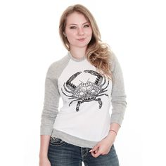 HENNA CRAB (WHITE) / LADIES LONG SLEEVE SHIRT Lg