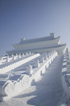 China, Heilongjiang, Harbin, Ice and Snow Festival, Forbidden City made of snow and ice slide