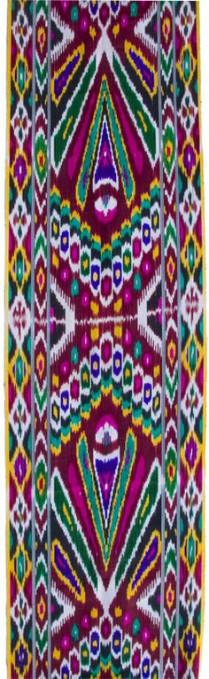 This is a hand-dyed and hand-woven ikat fabric. Ikat is a technique of weaving that requires a great amount of precision of tying and dyeing silk yarn in order to achieve a desired pattern.  Uzbekistan was once a major branch of the ancient Silk Road. As caravans traveled between East and West t...