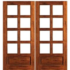 AAW Inc Rustic 8 Lite Panel Double Interior French Doors Solid
