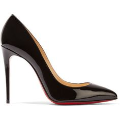 Christian Louboutin Pigalle Follies 100 patent-leather pumps ($675) ❤ liked on Polyvore featuring shoes, pumps, black, pointed-toe pumps, pointy-toe pumps, black pointed toe pumps, patent leather shoes and patent pumps