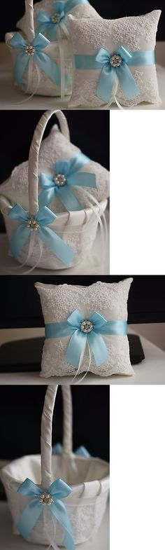 Ring Pillows and Flower Baskets 177762: Sky Blue Wedding Pillow Basket Set, Light Blue Flower Girl Basket + Ring Bearer -> BUY IT NOW ONLY: $59 on eBay!