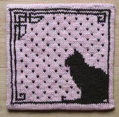 """Cat silhouette potholder"" - knitting/crochet patterns available on Ravelry."