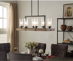 6-Light Metal Wood Chandelier Dining Room Kitchen Light Fixture Rustic Charm #Unbranded
