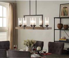 6-Light Metal Wood Chandelier Dining Room Kitchen Light Fixture Rustic Charm #Unbranded