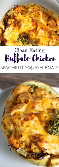 Healthy Buffalo Chicken Spaghetti Squash Boats will be your new favorite dinner. Warm, cheesy + loaded with spicy buffalo sauce - they're bound to be a hit with even the pickiest of eaters! Easy Soup Recipes, Paleo Recipes, Chicken Recipes, Cooking Recipes, Chicken Meals, Chicken Broccoli, Buffalo Chicken Spaghetti Squash, Spaghetti Squash Boat, Healthy Drinks