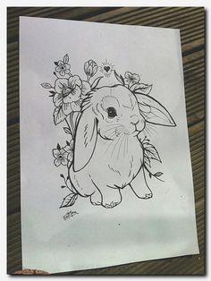 New flowers illustration tattoo behance Ideas Animal Tattoos, Sketches, Animal Drawings, Rabbit Tattoos, Drawings, Bunny Designs, Animal Sketches, Drawing Sketches, Flower Drawing