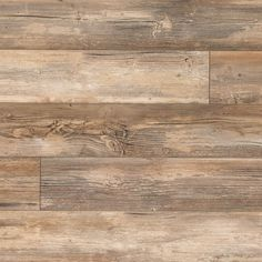 Weathered by wind and rain, pine achieves a warm toffee brown with gray accents, just like these planks. They're perfect for elegant, comfortable looks. Gorgeous distressed laminate floor.