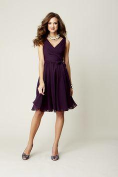 A short chiffon bridesmaid dress with straps. | Purple Chiffon Bridesmaid Dresses