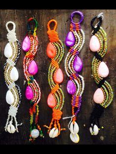 macrame bracelets beads and shell by Ravi Scott