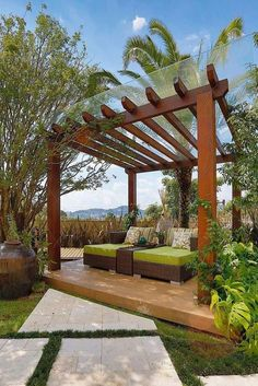Gazebo, Pergola or Cabana? Which is the best choice for your backyard? Looking to add some shade and privacy to your backyard? Why not try a pergola, Wooden Pergola, Outdoor Pergola, Backyard Pergola, Pergola Shade, Pergola Kits, Backyard Landscaping, Pergola Lighting, Pergola Carport, Gazebo Roof