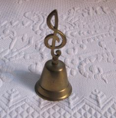 Vintage Solid Brass Bell  /Music Note Brass Bell by vintagous on Etsy
