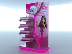 Veet Display on Behance Pos Display, China Display, Store Displays, Display Design, Product Display, Display Stands, Pop Design, Shelf Design, Stand Design
