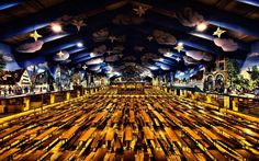 "The artist calls this image of the Hacker-Pschorr brewery tent ""Bavarian..."
