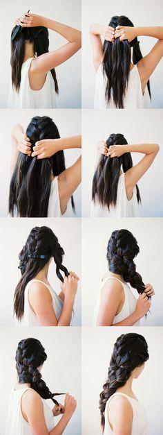 Beautiful interwoven 3 strand braid tutorial #oncewed #howto #hairstyle #hairdo #brunette