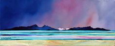 Contemporary Scottish landscape painting of Rum and Eigg from West Coast Beach, Scotland.