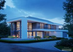 House in modern style with usable area Style At Home, Modern Exterior House Designs, Modern House Design, Contemporary House Plans, Modern Contemporary, 5 Bedroom House Plans, Modern Family House, Model House Plan, Home Fashion