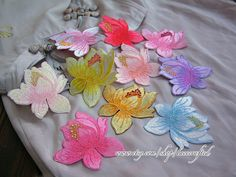 3pcs Lotus Flower Lace Applique Embroidery by lacecrafted on Etsy