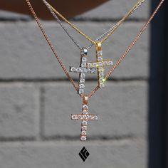 14kt Solid Micro Diamond Harvey Cross available now on www.IFANDCO.com.  #Cross #CustomJewelry #IFANDCO