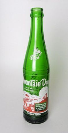 Vintage 1965 Filled by Ed and Gene Mountain Dew old ACL Hillbilly 10 fl. oz. green glass collectible soda bottle  VCBT-SMDFEG1c   ...   For Sale at www.claudiasbargains.com   SOLD