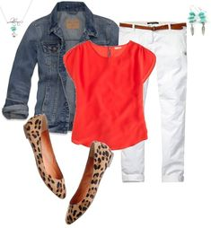 Love the outfit especially the jacket and top. Orange, white denim, denim jacket and leopard ballet flats. Perfect for a cool spring night. Schedule a Fix for gorgeous pieces like this, hand-selected just for you by your Stitch Fix Stylist! Mode Outfits, Casual Outfits, Fashion Outfits, Womens Fashion, Jean Outfits, Red Jeans Outfit, Red Top Outfit, Outfits With Red Shoes, Red Blouse Outfit