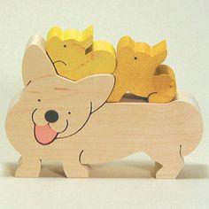 組み木 木のおもちゃ 『遊プラン』 KA728   ウェルシェコーギーペンブローク・MC