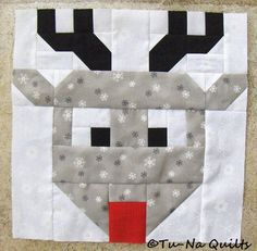 """""""I wish you a merry quilt-a-long"""" block 9 from tunaquilts Christmas Blocks, Christmas Quilt Patterns, Barn Quilt Patterns, Paper Piecing Patterns, Christmas Sewing, Christmas Quilting, Christmas Items, Rudolph Christmas, Bird Patterns"""