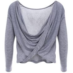 Gray Cross Back Draped Top ($29) ❤ liked on Polyvore featuring tops, grey top, gray top, cross back top, rayon tops and drape top