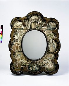 Mirror glass had a considerable intrinsic value in the 17th century, and the presence of a relatively small piece could be increased with a broad decorated frame. The decoration of mirror frames with a wide inner border of embroidery like this one seems to have been a popular accomplishment of amateur needlewomen particularly between about 1660 and 1680.