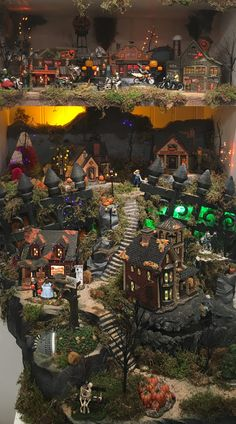 Commission a Custom Halloween Village Display Halloween Village Display, Christmas Village Display, Christmas Villages, Christmas Place, Cabin Christmas, White Christmas, Christmas Decorations, Holiday Decor, Halloween House