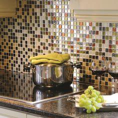 """Smart Tiles Mosaik Idaho 9.85"""" x 9.85 """" Peel & Stick Wall Tile in Beige & Olive Green"""