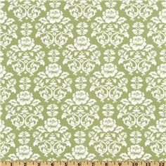 green - Pimatex Basics Damask Celery/White
