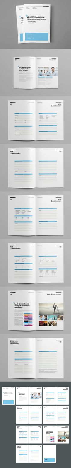 Questionnaire Proposal Template InDesign INDD - 16 Pages, A4 and US Letter size