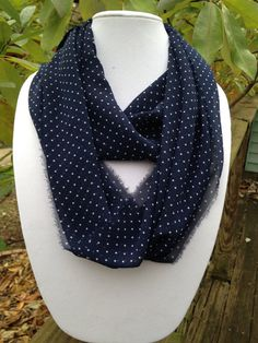 Navy Blue with Small White Polka Dot Chiffon by plumbyummy on Etsy
