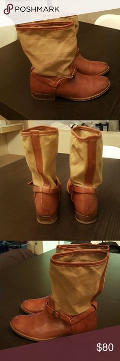 Frye Melissa Boots Leather with canvas shafts, very clean with a few scuffs. Frye Shoes Ankle Boots & Booties