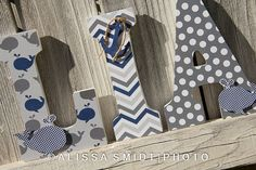 Custom Nursery Wooden Letters, Baby's Nursery - Nautical Theme Custom Letters, 9 Inch Size (whale, boat, crab, anchor)