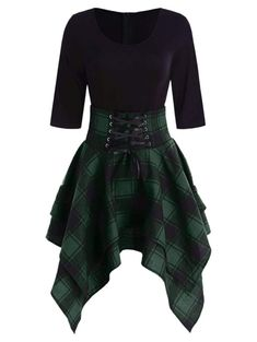Women Lace Up Plaid Asymmetrical Dress O-Neck