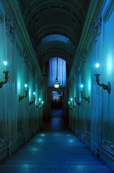in my dreams, blue hallways like this one usually have other people attending parties on the other side of the doors. i am either not invited to these parties, or deliberately choosing not to enter them. the music is jazz. the mood is nostalgic.
