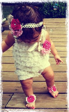 Lace Romper Baby girl birthday Baby shower gift First by rockabutt