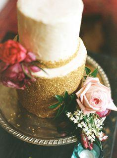 Two tier gold sparkle cake by Kerissa Bakes - Washington