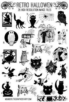 Retro Halloween Kit - TGF Premium! - The Graphics Fairy