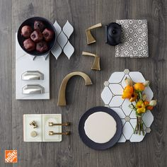 Looking to your in We're getting inspired by the form the Home Depot featuring Silestone Gold. Incorporate brass elements and champagne hues for a new twist on a Natural Wood Flooring, Home Upgrades, Painted Floors, Tile Design, Kitchen And Bath, Design Trends, Interior Design, Interior Paint, Interior Ideas