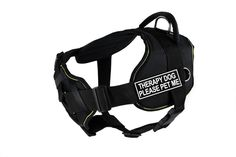 Dean and Tyler DandT FUN-CH TPYDPM YT-XL Fun Dog Harness with Padded Chest Piece, Therapy Dog Please Pet Me, X-Large, Fits Girth 86cm to 119cm, Black with Yellow Trim >>> You can find more details by visiting the image link. (This is an affiliate link and I receive a commission for the sales)