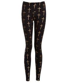 Black Pattern (Black) Black Foil Cross Print Leggings | 262443709 | New Look